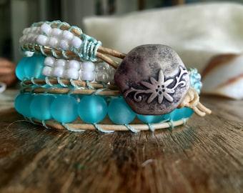 B10 Aqua Chan Luu Style Beaded Wrap Bracelet Wrightsville Triple-wrap Made to Order