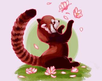 Magnolia Red Panda Print