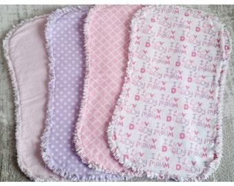 Baby Girl Burp Cloths - 4 pack