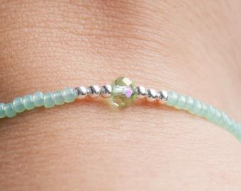 Seed bead bracelet, Mint green bracelet, green bracelet, stack bracelet, delicate bracelet, Ibiza bracelet, boho bracelet, friendship bracel