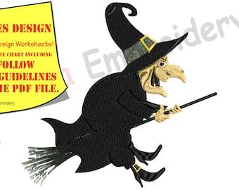Halloween, Witch  Embroidery Design,magic,Witchcraft,cartoon,machine patterns,filled stitch,patterns,10 sizes, 9 formats