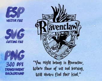 Ravenclaw home logo slogan Clipart , SVG Cutting , ESP Vectors files , T shirt , iron on , sticker ,Personal Use
