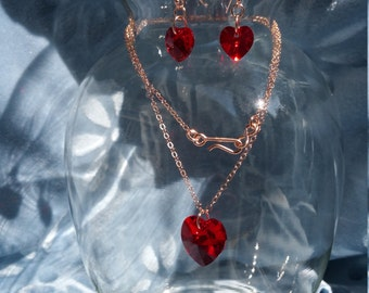 Rose Gold Filled,  Red Swarovski Heart Necklace and Earrings Set