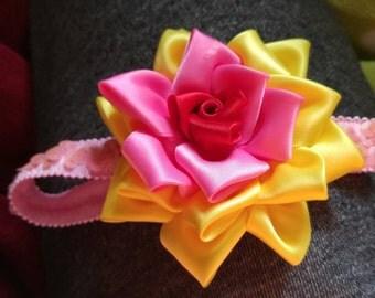Elegant rose headband, multi colored rose, red yellow pink rose