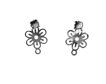 3 pairs Flower stud earring with base rivoli 18ss/ 4 mm 2 pcs