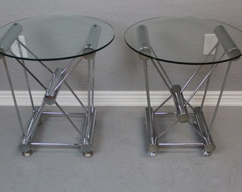 Atomic Base Chrome and Glass Side Tables (Pair)