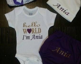 Hello world newborn outfit