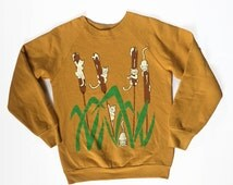 Vintage Cat Tails Butterscotch Crewneck - S