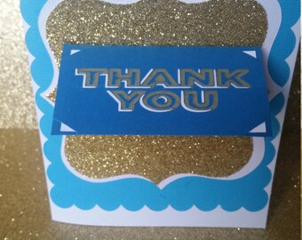 Blue,Gold, Scallop   Thank you card