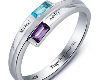 Engraved Promise Ring Couples Birthstone Ring Sterling Silver Split Band Personalized Ring