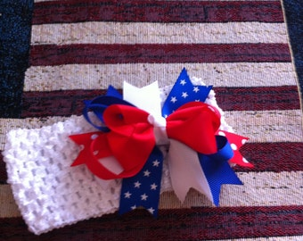 Red,White and Blue Bow