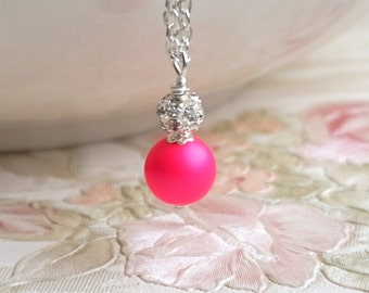 Hot Pink Bridesmaid Necklace, Pink Bridesmaid Jewelry Necklace, Neon Pink Swarovski Pearl Necklace, Bridesmaid Gift Wedding Jewelry