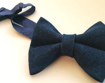 Denim bow tie, denim neck tie, blue bow tie