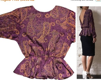 SALE 25% OFF Silk Backless Top Longsleeve Paisley Houndstooth