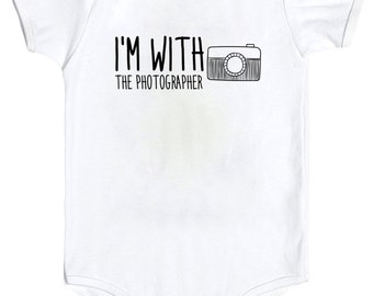 I'm with the photographer, Camera, Hipster, Photography, Photographer, Assistant, Cute Baby Onesie, fashion bodysuit