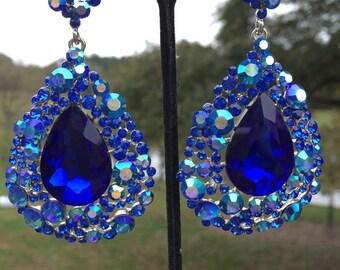 Sapphire Earrings   202-7   Big Sapphire Earrings   Sapphire Pageant Earrings  Sapphire Prom Earrings  Chunky Sapphire Earrings