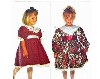 1994 Butterick 3770 Bryan Toddler's and Child's Dress with Contrast Collar Variations, Sewing Pattern Size 2-3-4