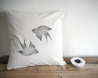 swallow duo hand printed cushion cover
