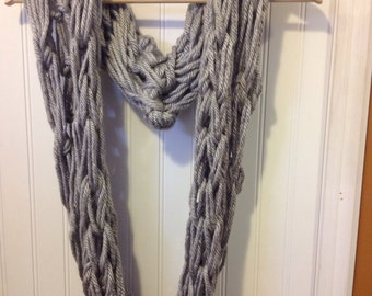 Grey Chunky Arm Knitted Infinity Scarf