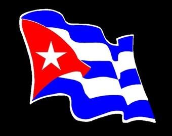 Cuban Waving Flag | Bandera Cubana sticker