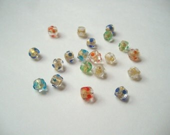 Gold foil lamp beads (20), 8mm lampwork tubes, multi colour foil, gold lined, glass spotted, small gold glass tubes