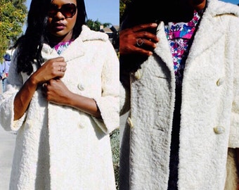 White Faux Fur Vintage Coat styled by Russel Taylor