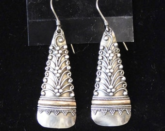 Sterling drop earrings-- tribal design