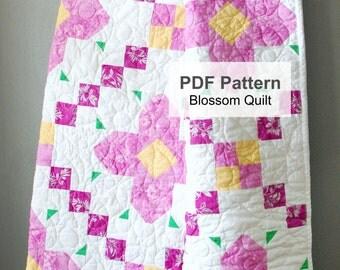 PDF Quilt Pattern, Quilt Pattern, Lap Quilt Pattern PDF, Quilt Pattern, Flower Quilt Pattern, Floral Quilt Pattern, Girl Quilt Pattern PDF