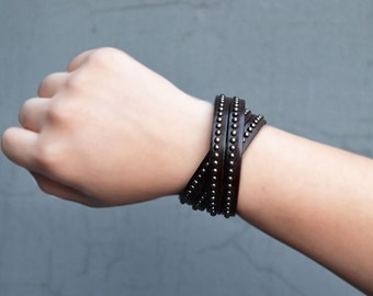 Studded Leather Bracelet Cuff Leather Cuff Bracelet Tan Brown Black