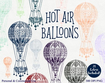 HOT AIR BALLOON Clipart Commercial Use Clip Art 24 Colors Hot Air Balloon Graphics Air Ship Images Vintage Balloon Clipart Airship Clip Art
