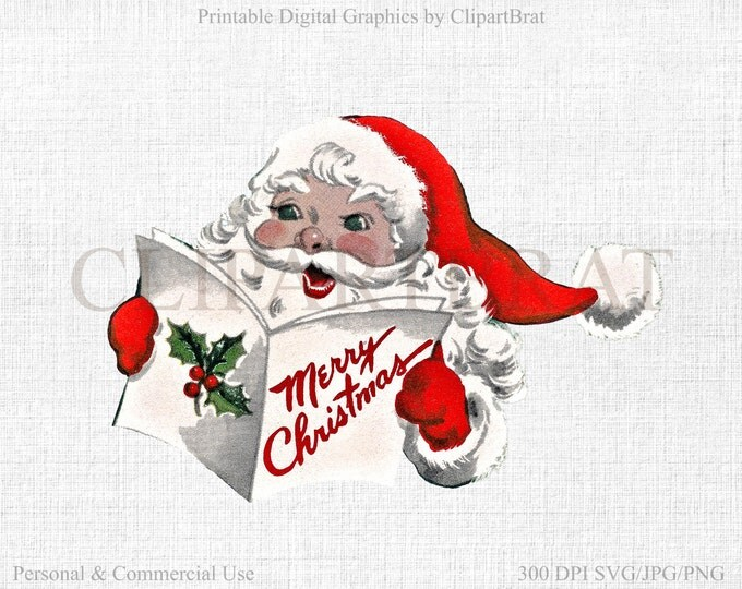 RETRO SANTA CLAUS Clipart Commercial Use Clipart Christmas Clipart Digital Collage sheet Fabric Transfer Clipart Vector Graphic Jpg/Png/Svg
