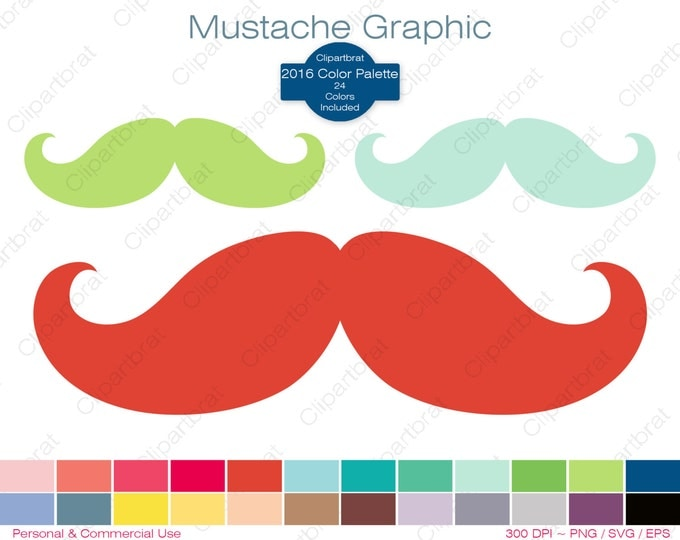 MUSTACHE Clipart Commercial Use Clipart MUSTACHE Graphics 2016 24 Color Palette Mustache Clipart Mustash Digital Stickers Png Svg Eps Vector