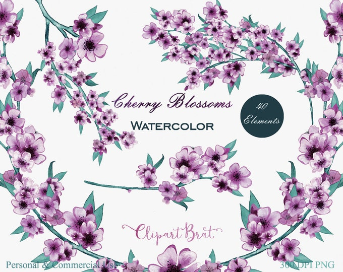 WATERCOLOR FLORAL Clipart Commercial Use Clipart Wedding Clipart Hand-Painted Spring Cherry Blossom Branches Purple Floral Wreath Graphics