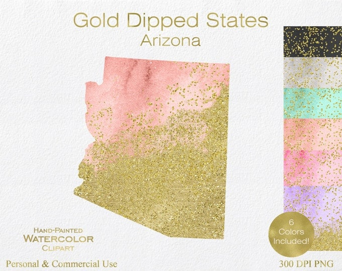 WATERCOLOR & GOLD ARIZONA Clipart Commercial Use Clipart United States Shapes Wedding Clipart Gold Confetti Dust Arizona State Clip Art