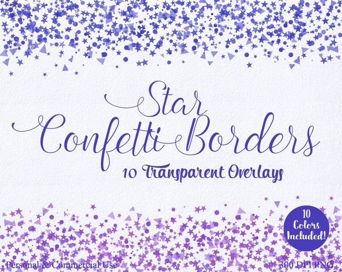 STAR CONFETTI CLIPART Commercial Use Clip art 10 Confetti Star Border Overlays Purple & Blue Star Clip Art Birthday Party Invitation Clipart