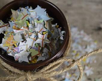 Mini Star Map Confetti | Destination Wedding Confetti | Travel Lover's Party Confetti | Map Ephemera | Scrapbooking Supplies |
