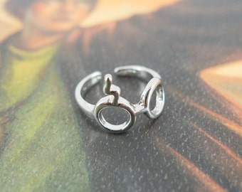 Harry Potter Inspired Deathly Hallows Lightning Scar Glasses Adjustable Ring (Silver Plated)