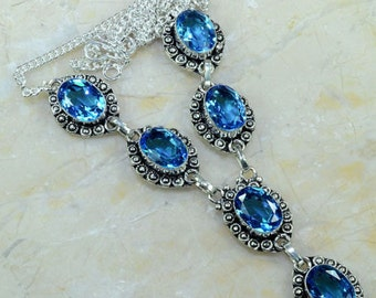 Beautiful Blue Topaz Necklace 925 Silver; 19""