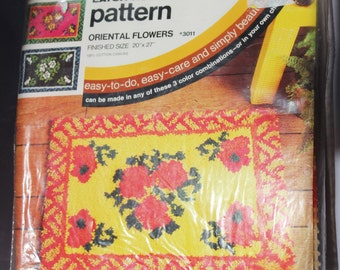 CARON Latch Hook Rug Stamped Canvas and Pattern, Oriental Flowers #3011, 100% Cotton Canvas, Finished Size 20 x 27 inches.