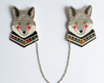 Wolf collar clips // shrink plastic // wolf sweater clips // tribal // geometric collar clips // cardigan clips // gift for her