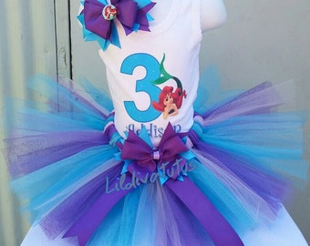 Little mermaid tutu set / Ariel tutu set / Ariel birthday shirt / Ariel birthday outfit / Little mermaid birthday shirt / Ariel tutu skirt