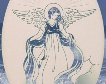 "Angel Oval Static Cling Window Decal 8"" x 12"" - White w/Clear Design"