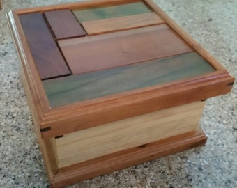Handmade Wooden Essential Oils Box (Tinted Panels)