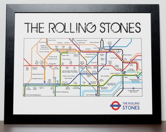 The Rolling Stones Tube/Subway Discograpy Poster