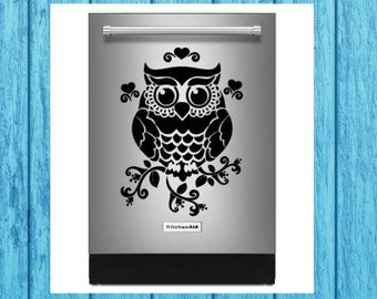 Floral Owl Dishwasher Decal, Floral Owl Appliance Decal, Kitchen Decal, Craft Decal, Home Decor Decal, Kitchen Appliance Decal Decor