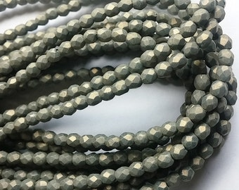 3mm Poppy Seed - Pacifica, Czech Fire Polish Glass Faceted Round Bead, PS1007 50 Beads