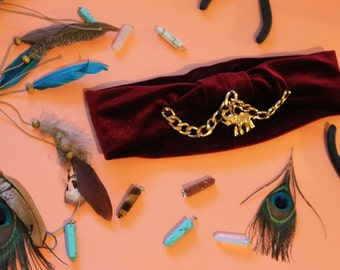 Miss Bohemian 70's handmade headband velvet Vintage gypsy Hippie Stirnband gold