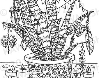 love hippie party plant adult coloring page gift wall art zentangle - Hippie Coloring Pages