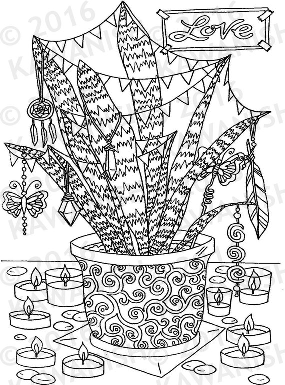 Coloring Book Wall Art : love hippie party plant adult coloring page gift wall art