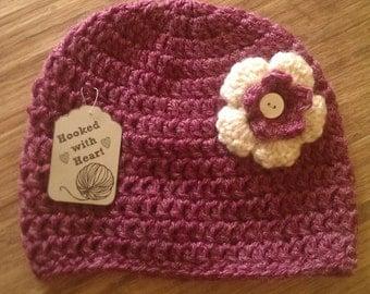 Crochet Purple Hat with Flower - Crochet Baby Girl Hat - Crochet hat - Baby Girl